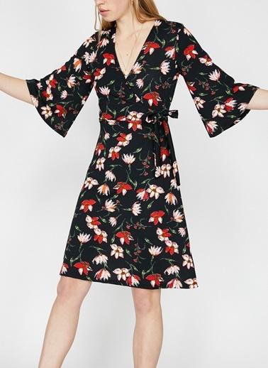 Koton Koton Çiçek Desen Siyah Elbise Siyah